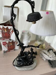 """Bronze Swinging Fairy On A Swing Accent Lamp Glass Shade Marble Base 15-1/2"""""""