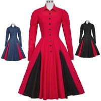 Women's 1900's 20's Swing Victorian Long Sleeve Shirt Collar Coat A-Line Dresses