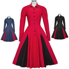 Women's 1900's 20's Swing Victorian Long Sleeve Shirt Collar Coat A-Line Dresses