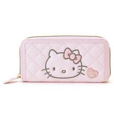 Hello Kitty Kawaii Long Wallet Genuine Zip Around Sanrio Light Pink Japan Import