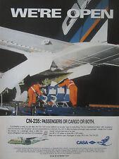 10/1991 PUB AVION CASA CN-235 QC AIRCRAFT BINTER CANARIAS CANARIES ORIGINAL AD