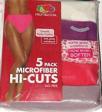 5 Pack Womens Underwear Size 8 Microfiber Hi-Cuts Tag Free Fruit of the Loom