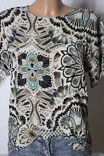 H&M Bluse Gr. S creme-bunt Blumen Ornament Kurzarm Bluse