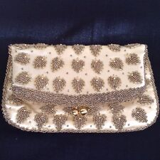 "VTG SEED BEADED EVENING PURSE Clutch •FREEPORT •Gold & Ivory • 9.5""x8.5"" • MINT!"