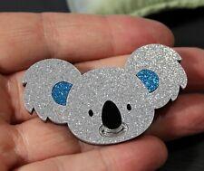 Blue Glitter Koala Australian Animal Acrylic Brooch Womens Jewellery Girls Gift
