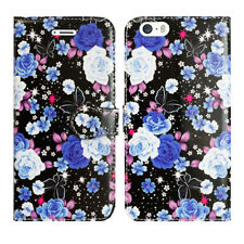 Leather Luxury Wallet Book Flip Phone Protect Case for Apple iPhone 6 6s Twilight Rose - Large Blue Petals Flowers Floral