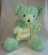 Mint Green Plush Teddy Bear Sweet Dreams Pillow Blanket Stuffed Toy Kayla 15""