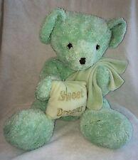 """Mint Green Plush Teddy Bear Sweet Dreams Pillow Blanket Stuffed Toy Kayla 15"""""""
