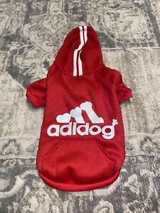 Adidog Gootailor Pet Dog Puppy Red Hoodie Coat Warm Sweater Size Medium