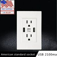 110V Dual USB Port Wall Socket Charger AC Power Receptacle Outlet Plate Panel US