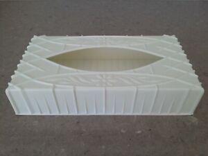 Vintage White Plastic Kleenex Tissue Box Holder / Cover - Retro w/ Flower Design