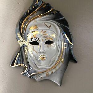 Vintage 1980s Ceramic Masquerade Face Mask Wall Plaque #6451
