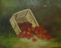 Antique Strawberries Still Life Oil Painting C. A. Stias C1877 on Canvas Framed