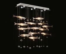 Crystal 12 Article Fish Chandelier Dinging Room Pendant Ceiling Lamp LED Lights