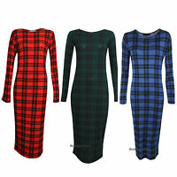 New Womens Ladies Long Sleeve Tartan Check Print Bodycon Midi Dress Size UK 8-14