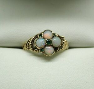 Antique 1912 Lovely 9 Carat Gold Opal And Emerald Ring Size K.1/2