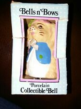 Vintage Bells N' Bows Porcelain Collectible Bells - Rabbit Bunny. Hand painted.