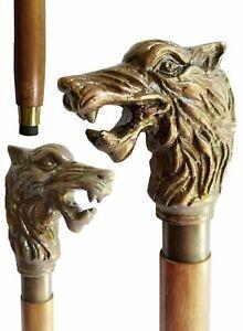 "Working Walking Stick 38"" Wolf Face White Polished Handle Walking Stick Replica"