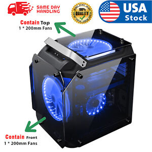 USA Mid-Tower Computer Gaming Case Micro ATX ITX With 200mm*2 Rainbow Fan
