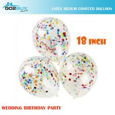 "18"" Latex Confetti Clear Wedding Birthday Party Balloon Helium Decoration"