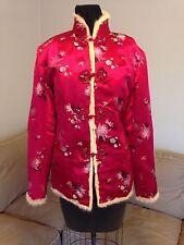 Women's Handmade Asian Oriental Red Brocade & Fur Lining Jacket Coat Sz 8-12