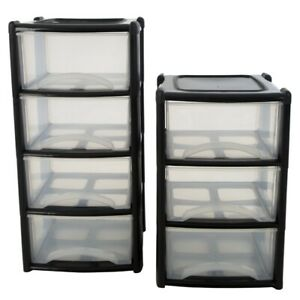 LARGE 3 & 4 PLASTIC DRAWERS -TOWER UNIT TROLLEY CHEST DRAWER SCHOOL OFFICE HOME