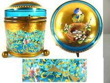 ANTIQUE 19TH CENTURY BOHEMIAN MOSER GLASS BOX CASKET - BIRDS NEST COVER