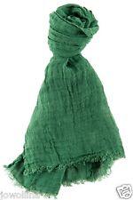 Leinen Schal mit Fransen 100% Leinen Stonewashed (48 x 170 cm) grün Trend