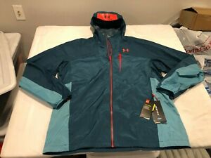 NWT $160.00 Under Armour Mens Storm Scrambler Waterproof Jacket Teal Size LARGE