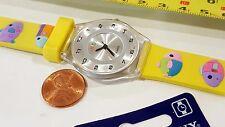 Unisex KIDS Square Quartz watch Silvertone Dial Multicolor band (Yellow Fish)