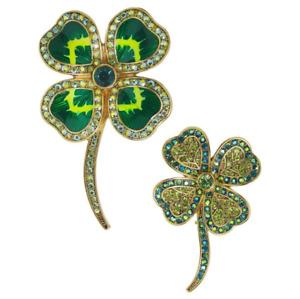 "HEIDI DAUS® ""Lady Luck"" St. Patrick's Lucky Crystal Set of 2 Shamrock Pins - NWT"
