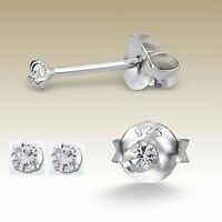 Sterling Silver 2mm Simulated Diamond Earrings Studs Girls Womens Tiny 925 Cute