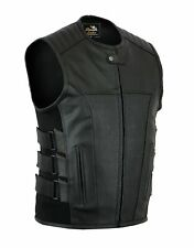FREE DELIVERY Real Leather Motorcycle Bikers Side Buckles Style Waistcoat Vest