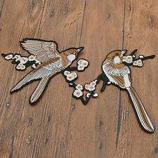 2Pcs Bird Flowers Embroidered Iron on Patch Sewing on Patches Applique DIY Craft