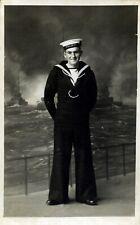 Real Photograph Portrait Postcard of Sailor H.M.S. Drake