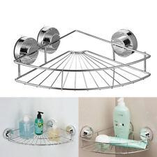 Stainless Steel Bathroom Suction Corner Holder Rack  Cup Shower Caddy Organizer