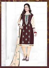 Ladies Brown Salwar Kameez Cotton Embroidered Indian Suit D.No V9160