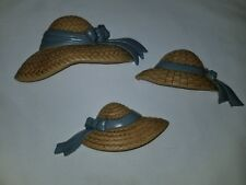 Home Interior Homco Set of 3 Straw Hats Blue Ribbon Wall Plaques