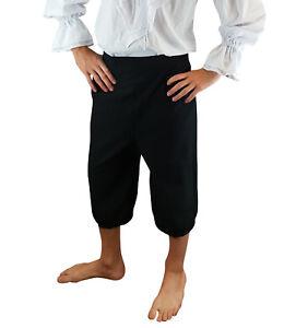 Mens Pirate Breeches 3/4 Length Trousers LARP Caribbean Fancy Dress Accessory