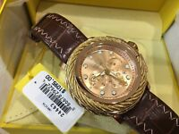 24443 Invicta Bolt Men 52mm Quartz Chronograph RoseGold Dial Leather Strap Watch