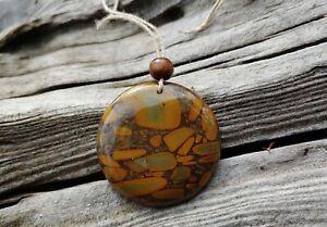 Bamboo Jasper Pendant Necklace Jewelry Wood Bead Hemp Cord Power Stone Brown