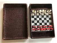 Vintage Chess Travel Set 1960's Leather Effect Box. Complete Set.Used.Pre-owned.