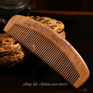 China Sandalwood Carved Plum Blossom Flower Anti-Static Hair Massage Wooden Comb
