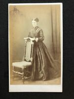 Victorian Carte De Visite CDV: Unknown Lady: Stood Reading: Named DREW?