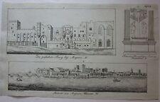 1818 AVIGNON Christian Fri. Mylius litografia Avignone veduta e Palais des Papes