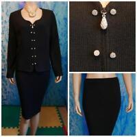 St. John Basics Knits Black Jacket & Skirt L 12 14 2pc Suit Rhinestones Buttons