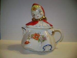 Vintage Hull Little Red Riding Hood Teapot With Flowered Decals