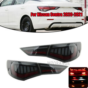 Set For Nissan Sentra 2020-2021 LED Rear Lamp Tail Light Brake Smoked Assembly