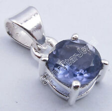 """925 Sterling Silver High End IOLITE 4-Prong NEW Pendant 0.6"""" INDIAN JEWELLERS"""