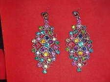 NEW TURQUOISE SILVER MAGNIFICENT Earrings FOR Sari SKIRT DRESS Outfit Jewelry